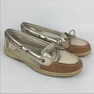 Sperry Angelfish Gold Mesh Slip-On Boat Shoes 9M